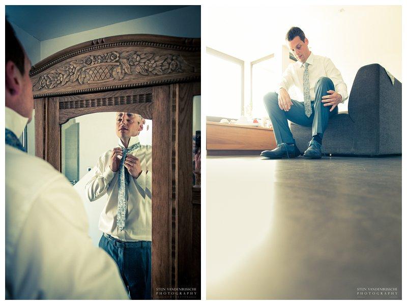 Trouwfotos BRam en Christel_0004 bruidegom maakt zich klaar