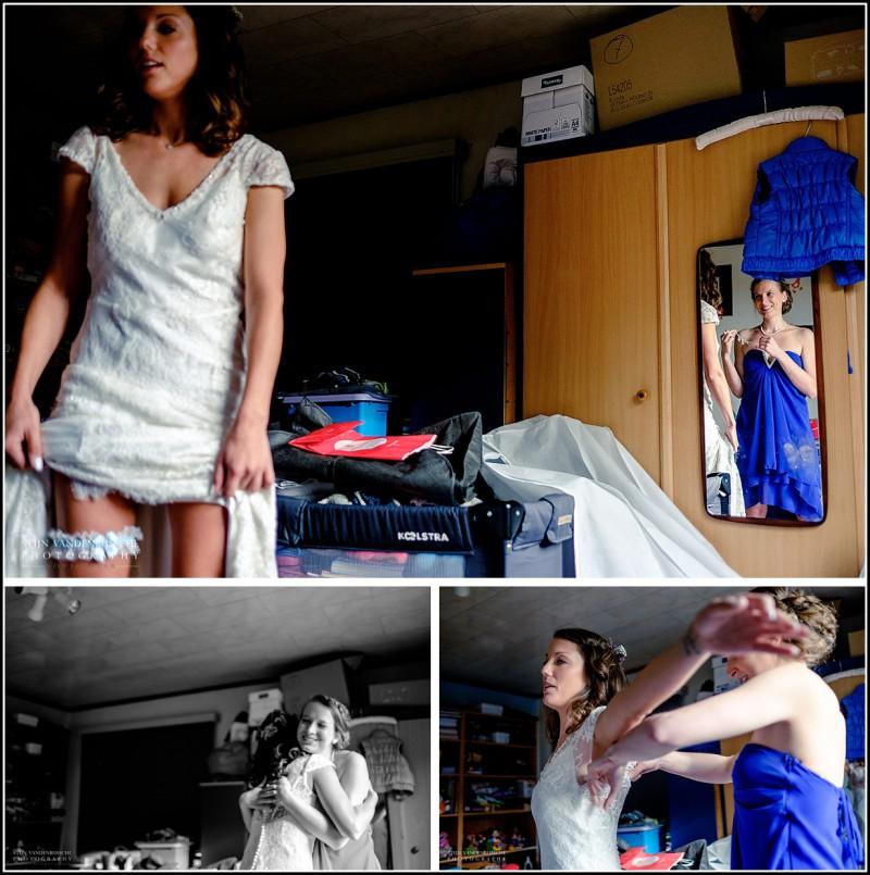 bruid en getuige met trouwkleed