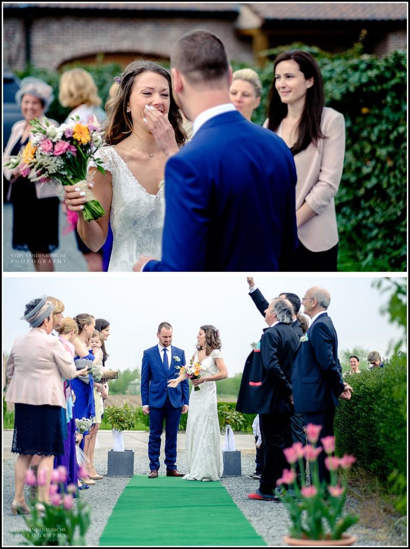 eerste zicht van bruidegom van bruid