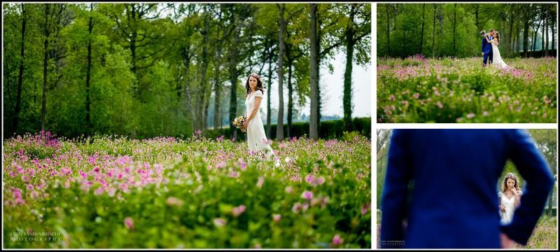 bruid in veld met bloemen