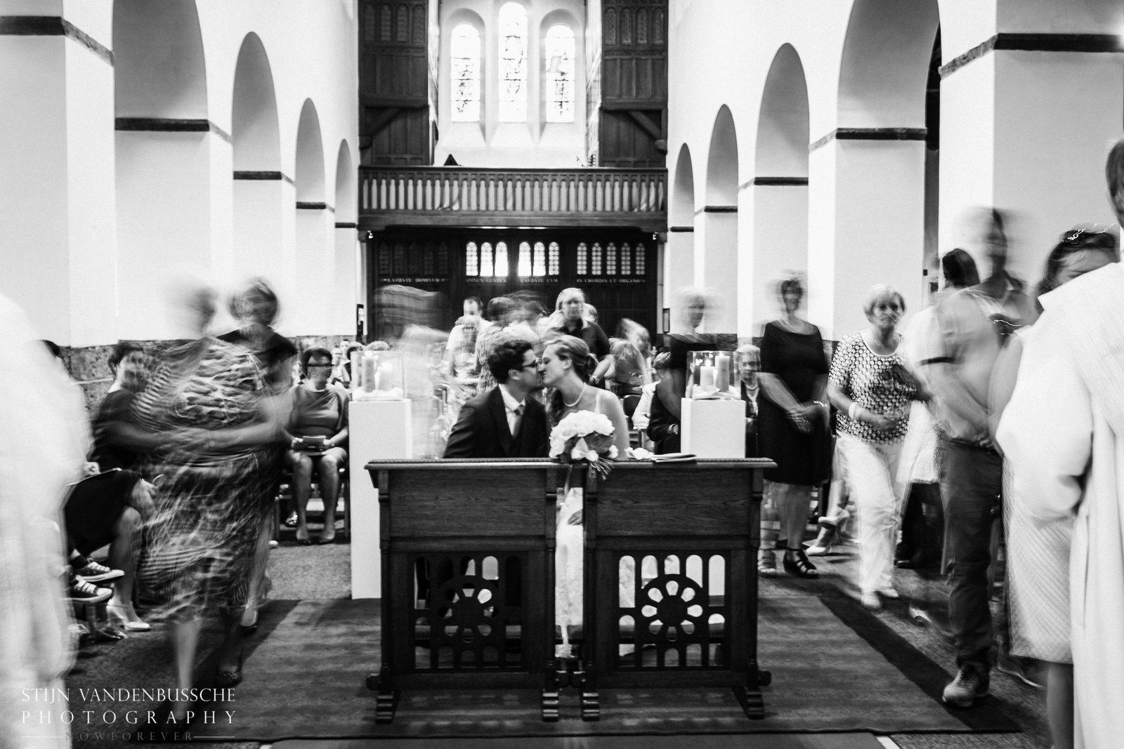 Trouwkoppel Brecht en Nathalie kerk wielsbeke